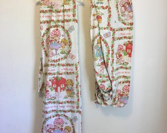 Vintage Bed Sheet, Strawberry Shortcake Twin Bed Set, Fitted and Flat Sheets, Vintage Bedding