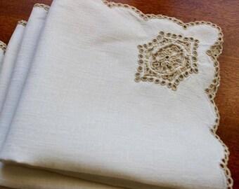Vintage Linen Napkins Four 4 Lunch Unbleached Cutwork Cloth Rustic 5 Plus