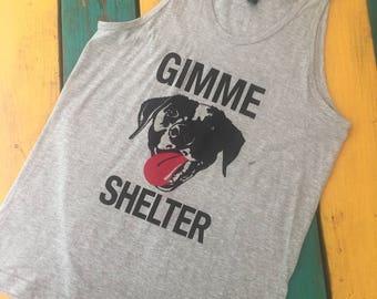 Sale! Men's unisex light gray Gimme shelter dog rescue tank top  Benefits Rescue efforts
