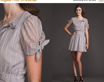 50% OFF ENTIRE STORE Vintage Unique Rare Mini gray Metallic sheer Dress//70s 80s//full skirt//tie neck and arms//grey