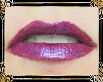 RHIANNON Lip Gloss: 10 mL Tube, Dark Purple with Blue Sparkle, Warm Purple Shimmer Lip Color, Iridescent Lip Gloss, Ships Out in 4-7 Days