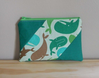 Zipper Pouch, Whales, Whales with Green, One of a Kind