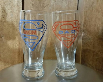 Hand etched and painted supermom superdad pilsner glasses