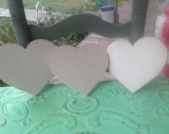 Set of Three Unpainted Wooden Hearts, Wood Crafting Supplies-Heart Shapes, Unfinished Wood Hearts