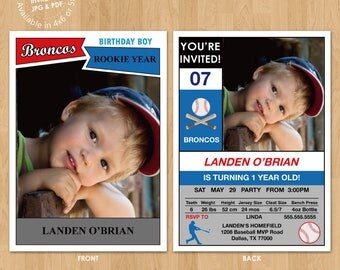 Sports Stats Card Boy Birthday Party Invitation Digital Printable or Printed, any color any wording any age