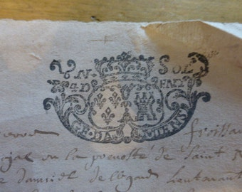 1705 Antique Handwritten French Legal Document Papers, 2 pages, Looped Cursive Handwriting, Italics