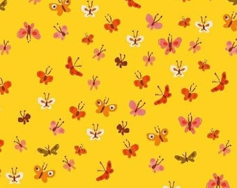 Butterflies in Yellow - Tiger Lily - Cotton Lawn - Heather Ross - Windham Fabrics - 1 Yard