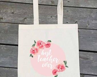 Best Teacher Ever Tote - Pink Floral Watercolour - reusable shopping bag - teacher gift