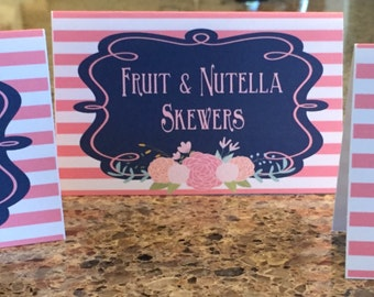 BRUNCH & BUBBLY Floral Bridal Wedding Shower Bachelorette Baby Shower Birthday Buffet Cards Place Cards {Set of 8} - Coral Navy