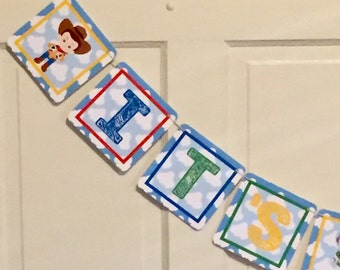 BUZZ AND WOODY Toy Story Inspired Happy Birthday or Baby Shower Party Banner - Party Packs Available