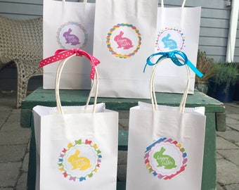 EASTER BUNNY Favor Tags or Stickers Set of 12 {1 Dozen} - Pastels - Party Packs Available