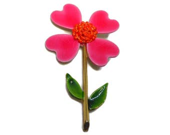Signed ART daisy brooch, large mod 1960s, pink and orange enamel flower, floral pin with textured center, flower power!