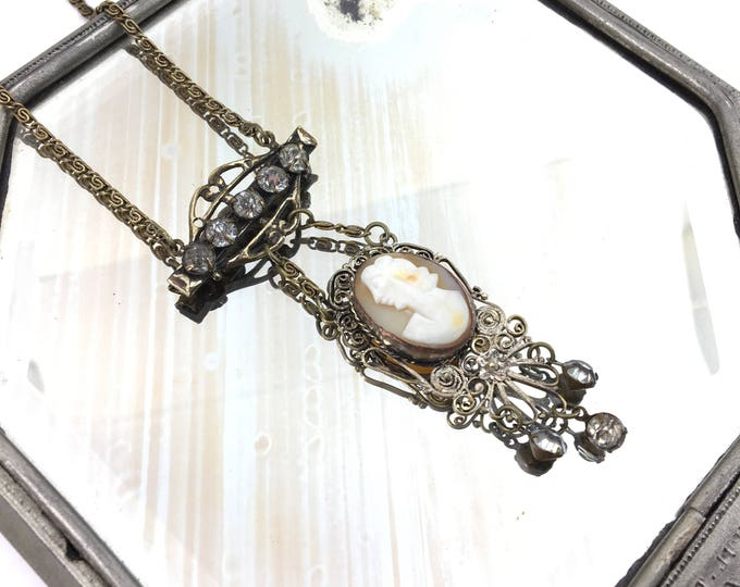 Vintage Wirework Cameo and Rhinestone Necklace