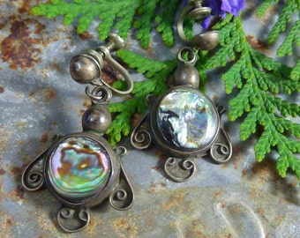 MEXICAN ABALONE Sterling  Taxco vintage screw back earrings