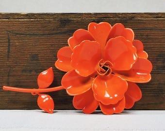 Vintage Orange Enamel Flower Brooch