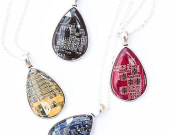 Drop necklace - Circuit board necklace - recycled - recomputing