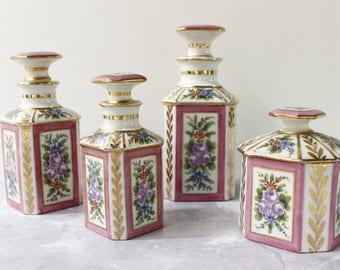 French Antique Perfume Bottles....Hand Painted Paris Porcelaine..Boudoir Bottles....Scent Bottles...FOUR Bottles...Frou Frou.