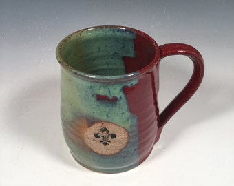 Pottery Mug -  Ceramic Coffee Cup - 16 oz - Ready to Ship - Red and green -  Fleur de Lis stamp - ceramics - pottery - stoneware