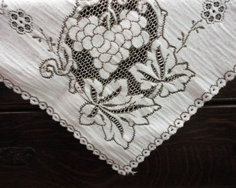 """Vintage Woven Tablecloth - Lacy with Dark Taupe Accent - Heavy 33"""" Square - Leaves Grapes"""