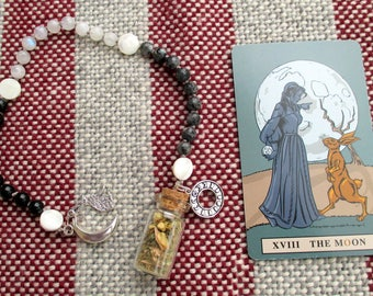 Moon Magic Pagan Prayer Beads with Charm Bottle