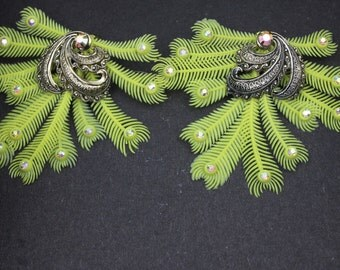 Vintage Austrian Crystal Earrings with Plastic Feathers Rare 1940s Yellow