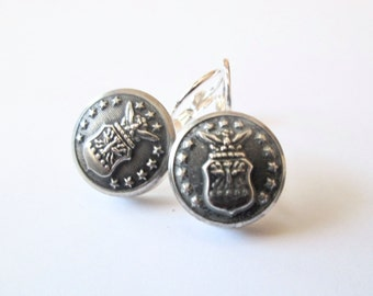 AIR FORCE Academy, Air Force vintage button earrings, silver lever backs