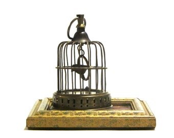 Brass Bird in Cage Swinging Perch Hanging Decorative Domed Birdcage Decor