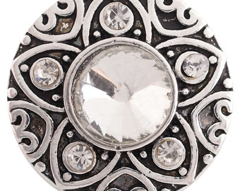 1 PC - 18MM White Rhinestone Silver Charm for Candy Snap Jewelry KC6199 Cc2972