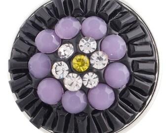 1 PC - 18MM Purple Flower Rhinestone Candy Snap Charm Silver Tone KC2867 Cc3363