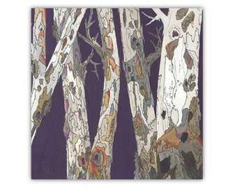 Large wall art purple tree art canvas print giclee canvas trees trunk artwork office kitchen bedroom living dining room modern decor