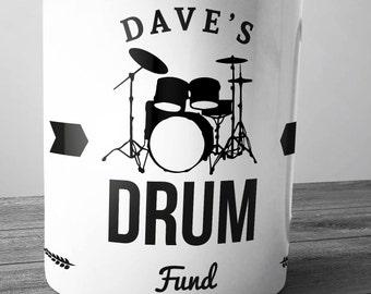 Personalised Drum Fund Ceramic Money Box Piggy Bank Savings Jar Hand Printed xmas christmas drummer cymbals snare stands sticks kit set tom