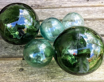 Vintage Fishing Floats Set of 5, Instant Collection,  Beach House