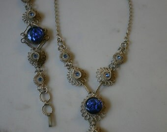 Cannetille VICTORIAN ERA Vintage Cannetille Filigree Silver Necklace Earrings SET Blue Foil Cabochons Victorian Revival Circa 1930