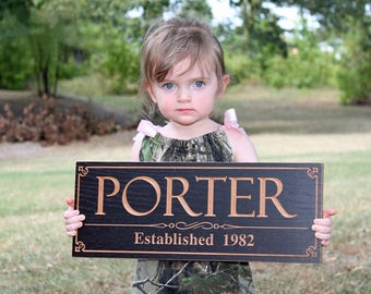 Last Name Sign, Wedding Sign, Family Established Sign, Benchmark Custom Signs Maple PP2