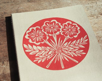 Flower Bouquet Journal, XL, lined, kraft cahier journal, hand printed, red ink
