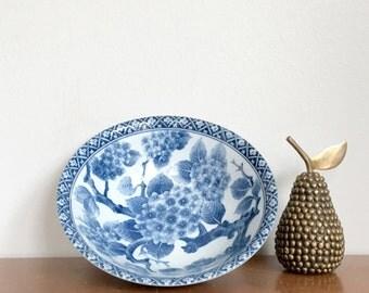Vintage Asian Bowl Blue White Porcelain Floral Decorative Small Bowl Dish