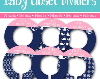 Nursery Closet Dividers - Set of 6 - Baby Shower Gift - Nautical - blue and light pink