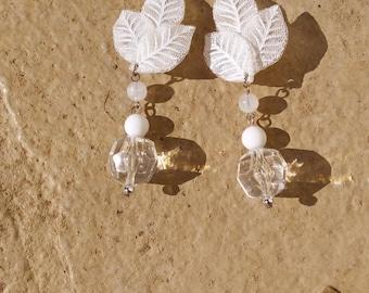 Vintage Clip On White Leaf Dangle Earrings