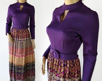 On Sale 60s 70s Mod Maxi Dress Purple Novelty Print Hippie Boho