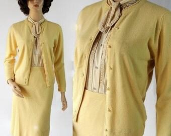 40%OFFSALE 60s Designers Original 2pc Sweater Dress Cardigan Skirt Yellow