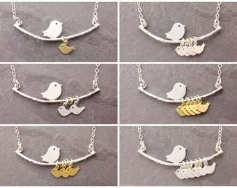 Mom Necklace, 1-6 kids, gifts for mom, mother necklace, new mom necklace, single mother, single mom necklace, baby bird necklace, N1