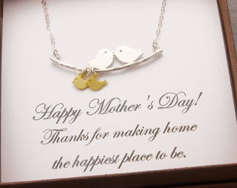 Message Jewelry, 1-10 kids, mothers day, message card, love birds, mom necklace, mother necklace, family necklace, baby shower, N1