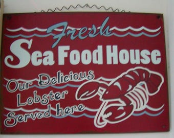 Vintage  Tin Sign Fresh Sea Food House Reproduction of Vintage Sign Red White Blue Paint Wire Hanger