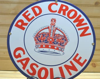 Vintage Ande Rooney's Porcelain Enameled Red Crown Gasoline Retro Advertising Sign 1990's Petro Service Car Garage Collectible Wall Hanging