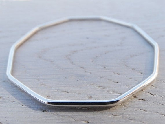 Silver Decagon Bangle - Geometric Bracelet - Sterling Silver