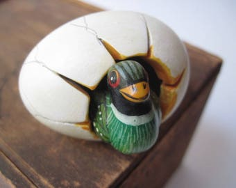 Vintage Hatching Duck Coming out of Egg Figurine Mexico