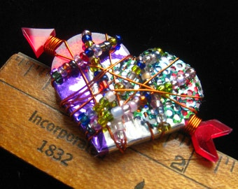 SALE Artisan HEART Brooch. Red Lucite Foundation, Purple, Green & Silver Foil Overlaid with Colorful Seed Beads on Copper Wire.  Signed BN