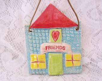 Home for Friends Ceramic Tile Wall Art Gift for New Home Hand Painted Home and Garden Art