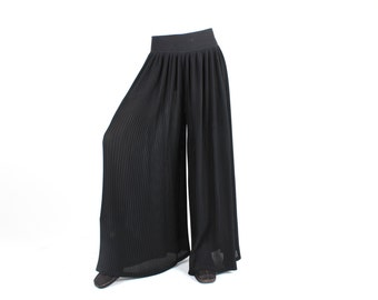 SALE - Divine 80s / Micropleated / Pleated HUGE Bell Bottoms / Flares / Wise Leg High Waist Palazzo Pants / Trousers