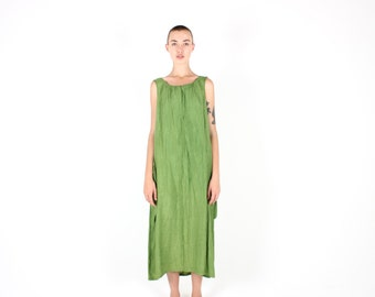 90s Minimal Rayon Gauze Green Simple Loose / Relaxed / Floaty Maxi Summer Dress